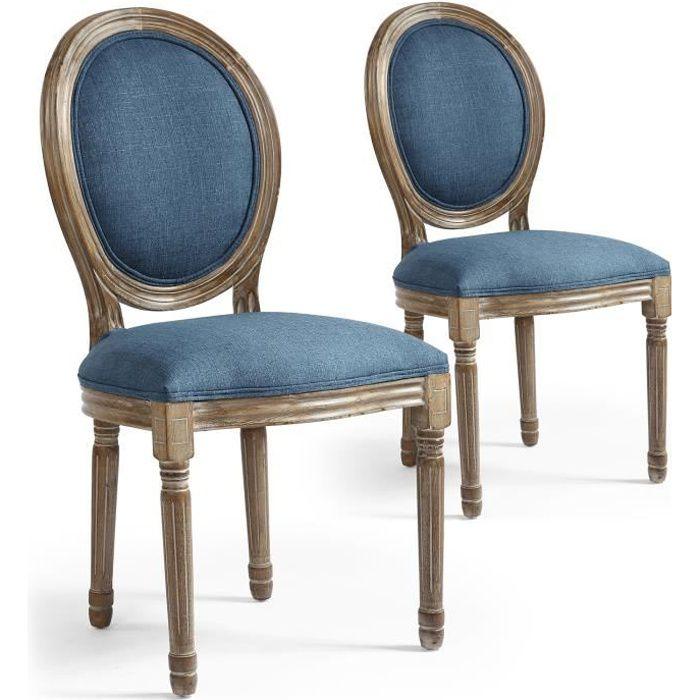 bcc0972cf847b Lot de 2 chaises de style médaillon Louis XVI Tissu Bleu - Achat ...