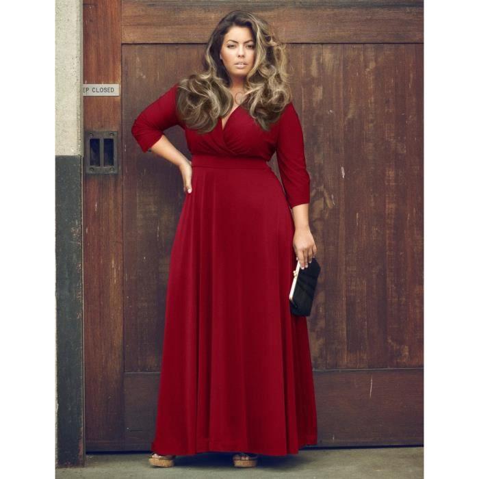 Robe Neck plus Femme Taille V élégante Parti de qwPfTCq