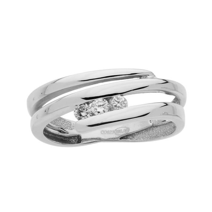 DIAMANTLY Bague spirale diamants 0,15ct or gris 750/1000
