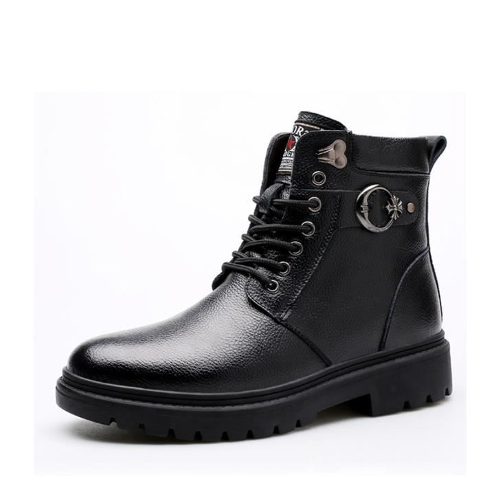 0d160b840254 Hiver Boots Cuir à Lacets Homme Mode Bottines P... Noir(Taille sur l ...