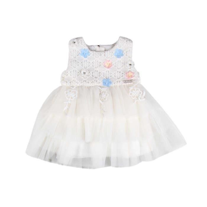 cd6238dd80b Robe cérémonie froufou en dentelle- blanc - bébé fille Blanc - Achat ...
