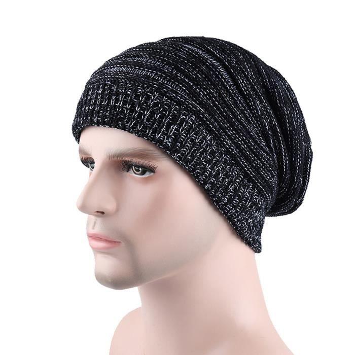 Chapeau Hommes Casual garder chaud hiver chapeaux crochet bonneterie laine  ourlet HSW70811456BK b853380f9c4