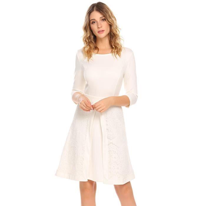 Robe de soirée en dentelleCol rond à manches 3-4 A-ligne pour femme