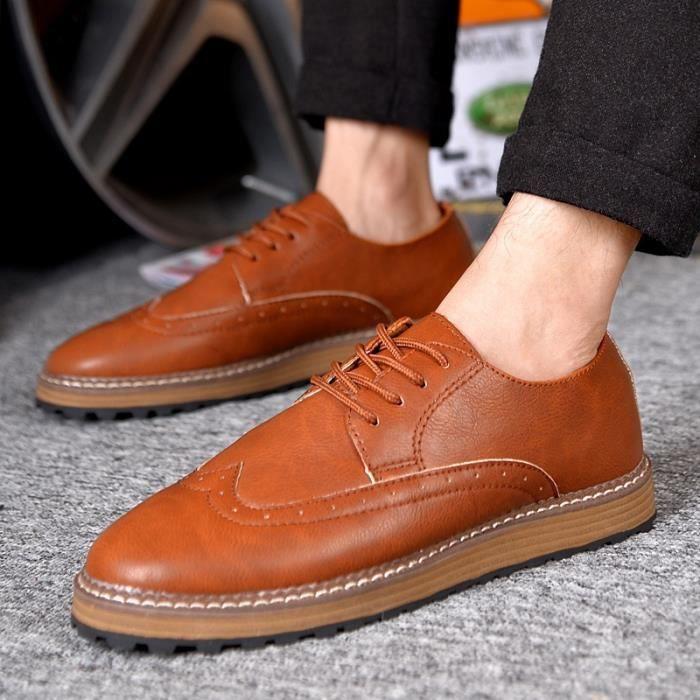 Richelieu en cuir Rétro hommes classiques Oxford Dress Chaussures Fashion Business Flats Chaussures à lacets Casualnoir39,noir39