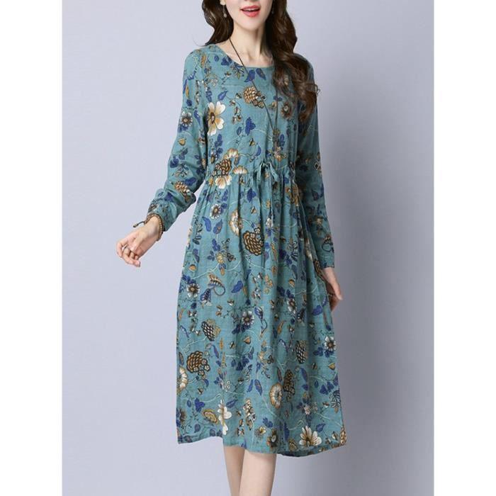 Femmes Une robe à manches longues ligne Floral Robe Vintage 10375428