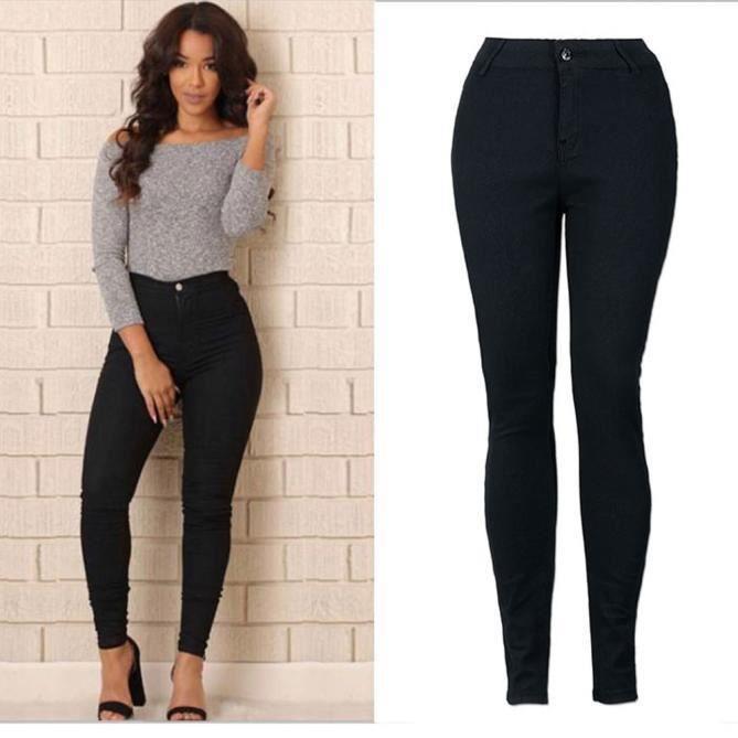 Femmes crayon extensible décontracté denim skinny jeans pantalons taille  haute pantalons Noir 97696082a7a