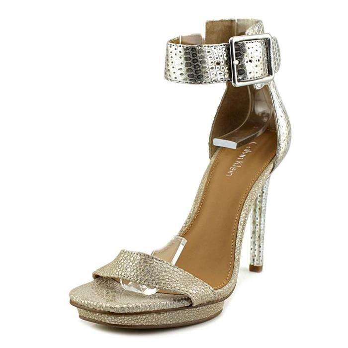 Achat Vable Chaussures Klein À Calvin Talons Femmes Métallique E0wqt44