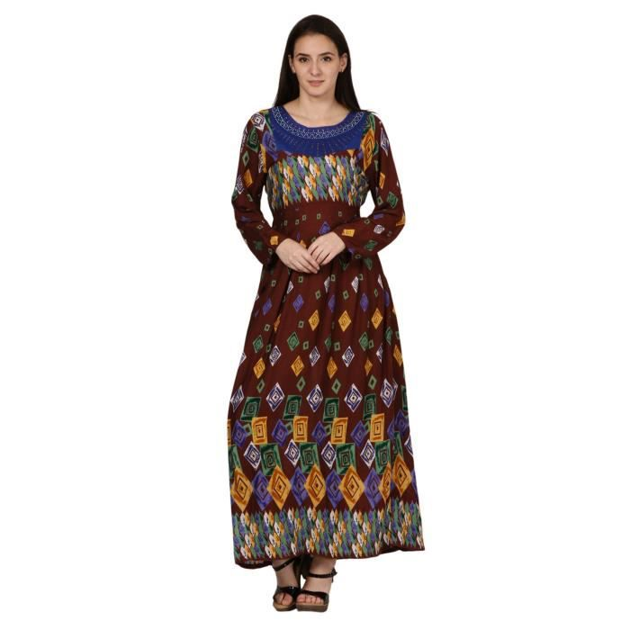 Womens Digital Print Maxi Dress For - Pure Rayon & Graphic Printed 1C07TY Taille-42