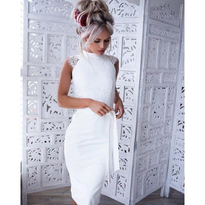 c32db1dbe9ee0 Robe en dentelle blanche femmes élégantes robes de soirée d été Vintage  manches