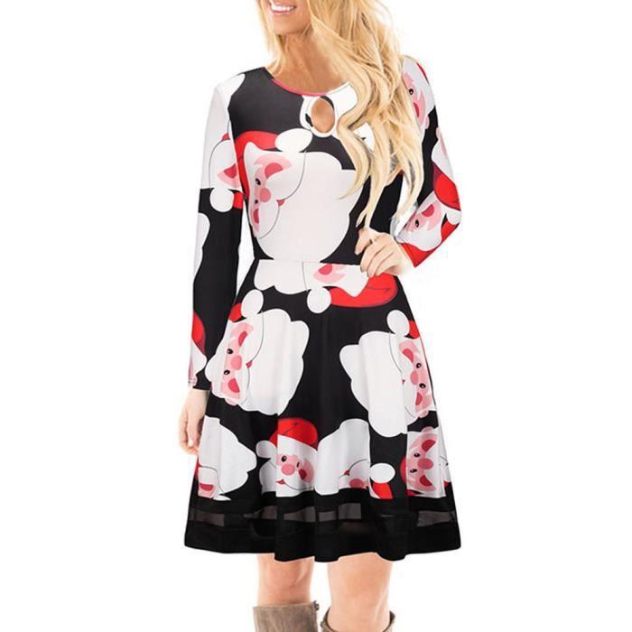 2e7c07d637b Les femmes de Noël Robe imprimée dentelle Manches longues pour femmes Robe  Mini WY4494