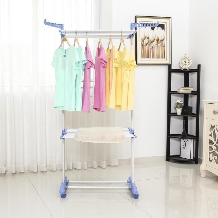 tendoir linge avec support chaussure pliable 3 niveaux grande capacit achat vente fil. Black Bedroom Furniture Sets. Home Design Ideas