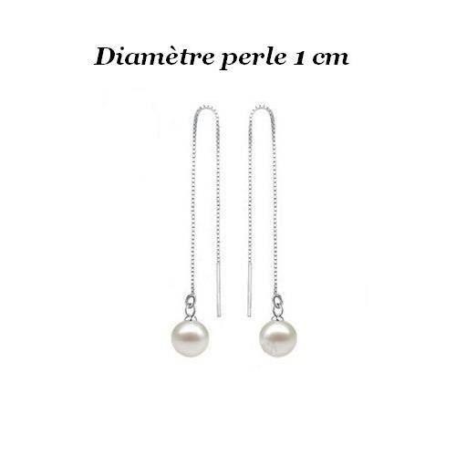 meilleurs tissus plus près de dernières conceptions diversifiées Boucles d'oreille Pendantes Traversantes Perle Argent 925