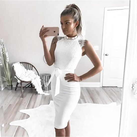332cc7d948ff4 Robe en dentelle blanche femmes élégantes robes de soirée d été Vintage  manches Blanc Blanc - Achat   Vente robe - Soldes  dès le 9 janvier !  Cdiscount