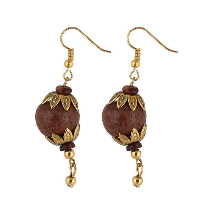 Haut fini oden acrylique tibétain style collier de perles avec pendentif Antique avec boucles doreilles de femmesURUDD