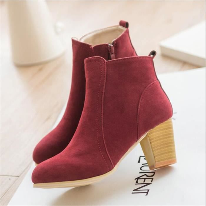 heeled High Hiver Femmes Bottillons Sexy Bottine TYS Automne Mode XZ017Rouge36 xYBaxgqw