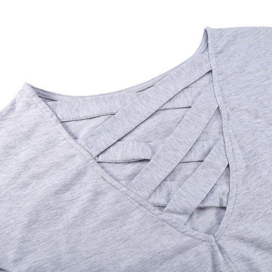 T-SHIRT Femmes à manches longues lâche --DQ FRANCE Gris Gris - Achat    Vente t-shirt - Cdiscount 3f65adee627c