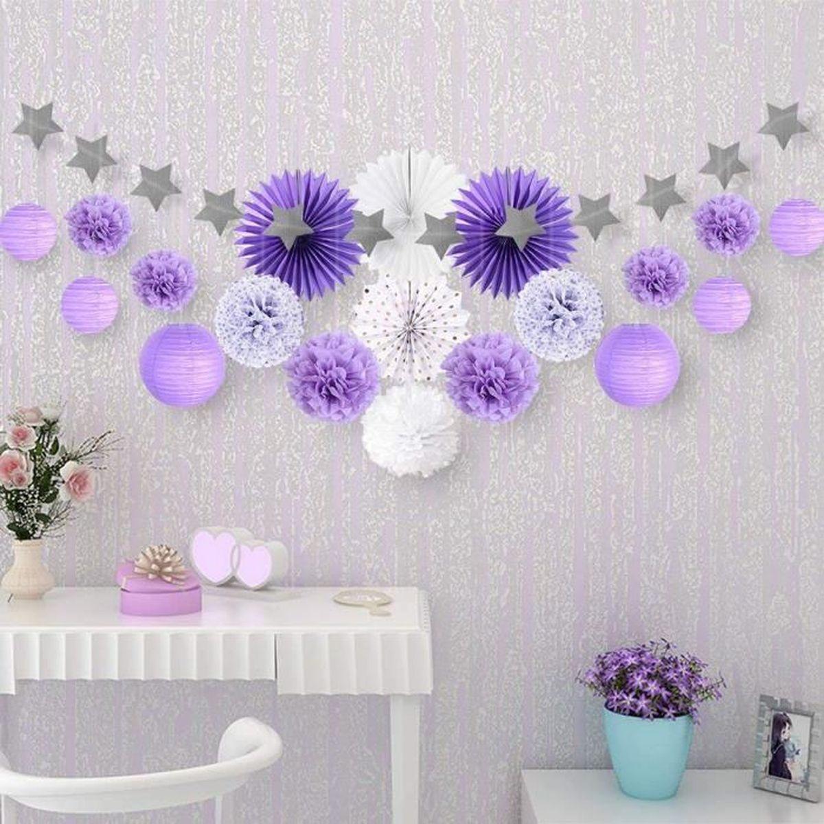 20pcs Salon Chambre Violet Gris Blanc Decoration Papier De