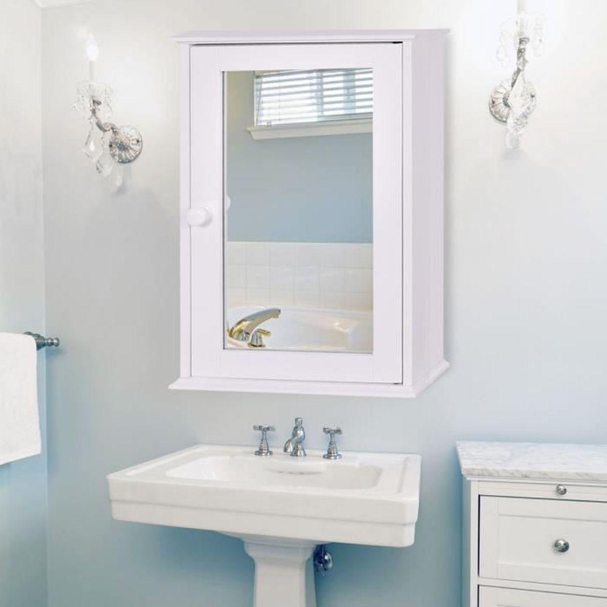 COSTWAY Meuble Salle de Bain Mural Armoire de Toilette avec Miroir ...
