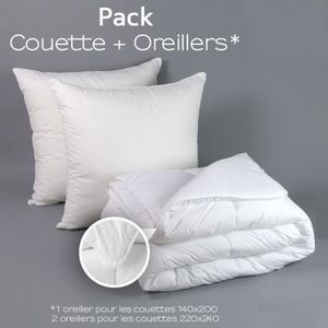 COUETTE Couette Blanche 220 x 240 cm + 2 oreillers 60 x 60