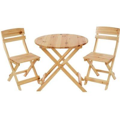 Ensemble de jardin avec table ronde et 2 chaises pliantes en bois ...