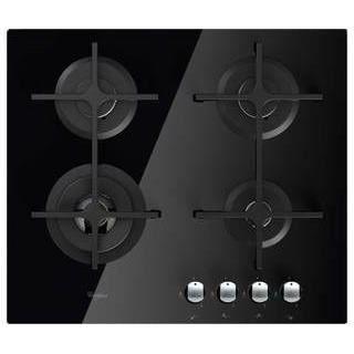 Whirlpool AKT7000NB - Table de cuisson gaz - 4 zones - 8000 W - Allumage 1 main - Grilles en fonte - L 60 cm - Revêtement verre noir