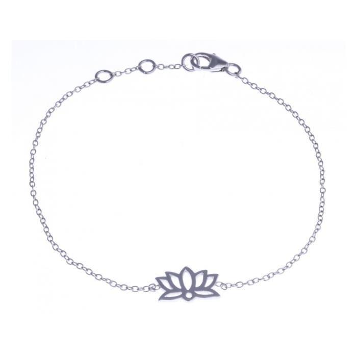 Bracelet argent rhodié - lotus - 17+1+1cm Argent