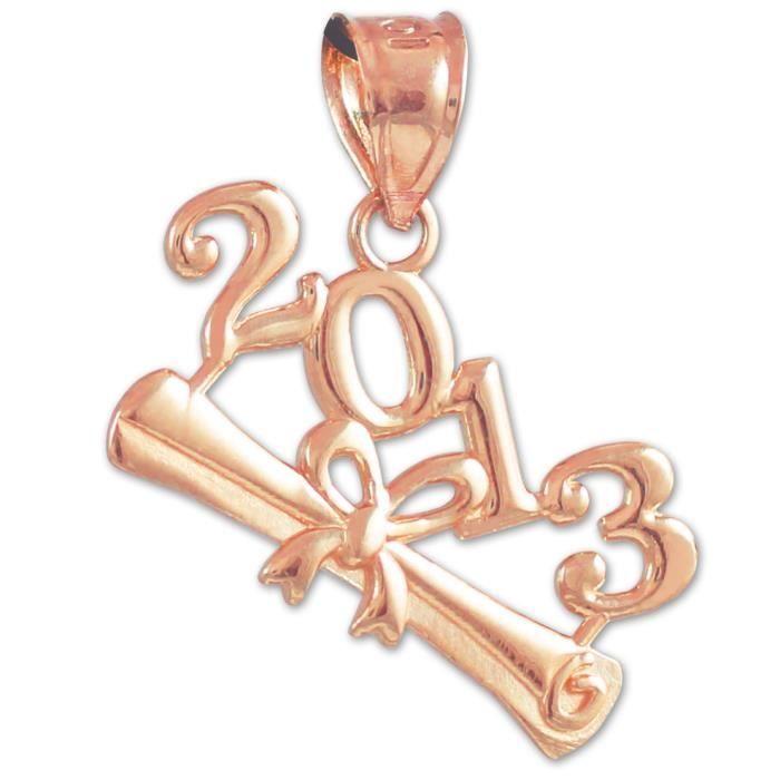 Collier Pendentif10 ct 471/1000 Classe de 2013 -Diplôme Or Collier PendentifRoses (vient avec une Chaîne de 45 cm)