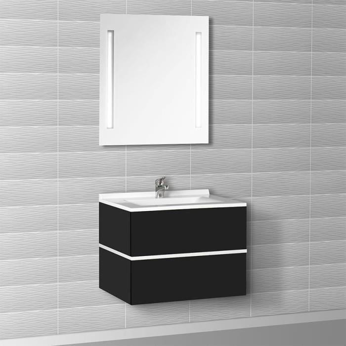 meuble salle de bain noir brillant 70 105 cm diamant