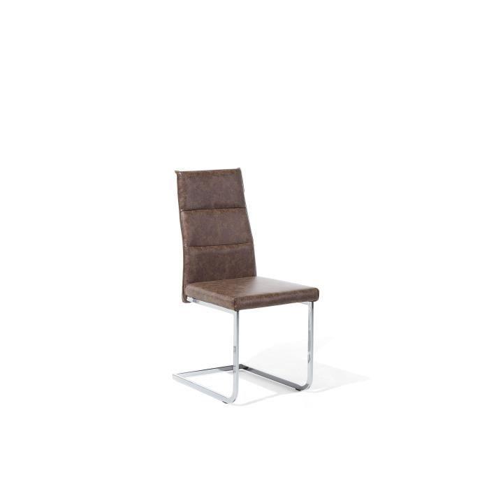 Chaise de cuisine en simili cuir marron rétro Rockford ...