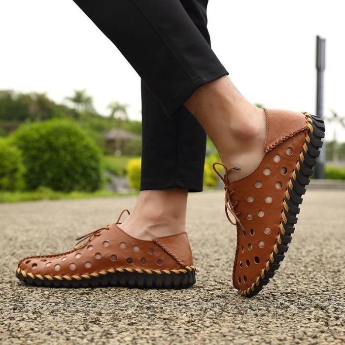 Chaussures creux véritable d'été en cuir hommes Flats Mocassins Respirant Casual Homme Chaussure Cuir véritable Hommes Mocassins sLR6jj8