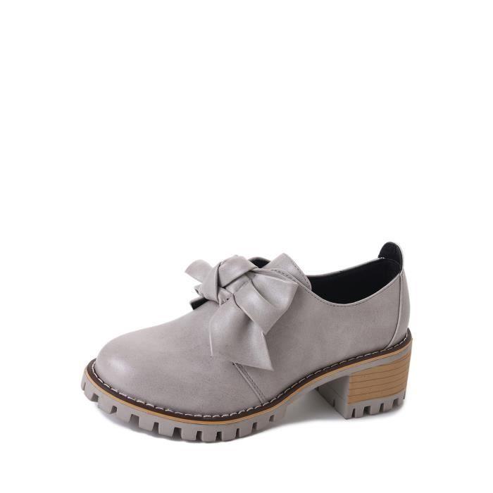 Mocassins Les femmesGrand Slip Bow noeud ornement sur des chaussures à talons épais 9357560