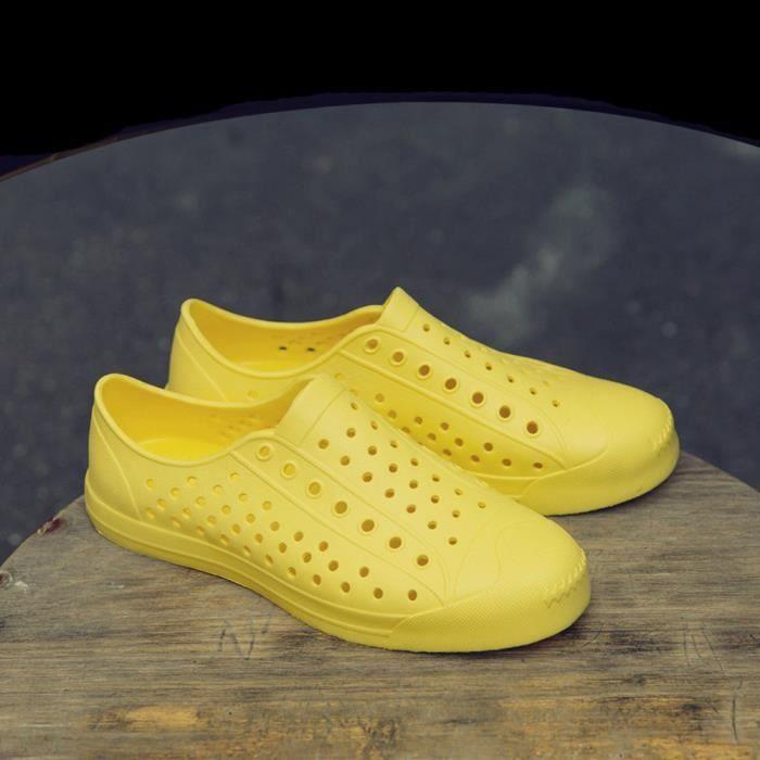 Hommes Femmes Unisexe Classique Occasionnel Chaussures Couple Plage Sandale Tongs Chaussures Jaune