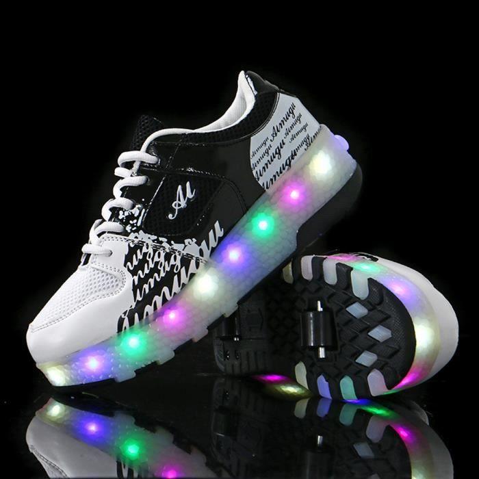 Nouveau style heelys chaussures enfant LED chaussures lumineuses filles garçon roulettes à chaussures avec roue KIANII® Noir