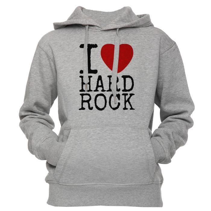 Sweat à capuche - I Love Hard Rock Unisexe Homme Femme Gris Taille S ... c5b87f33430