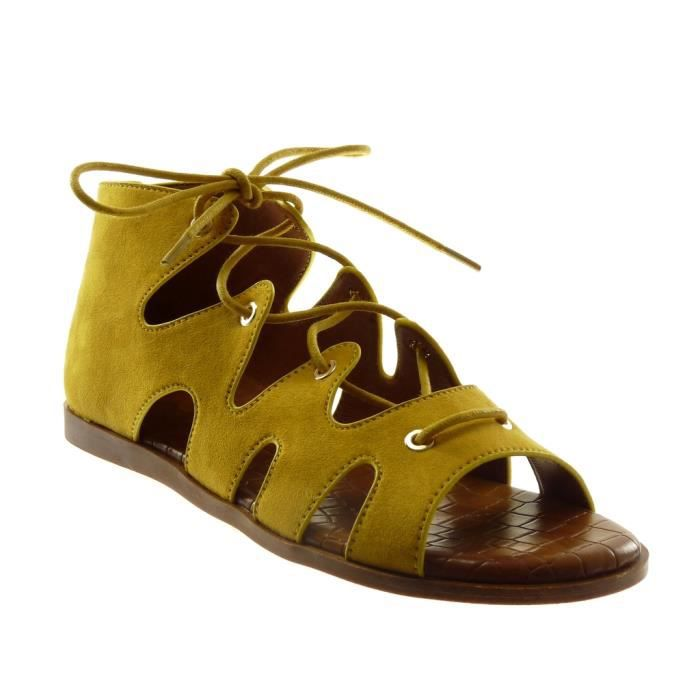 Sandale Chaussure Lacets Angkorly Montante Femme Spartiates Mode iPTZOXku