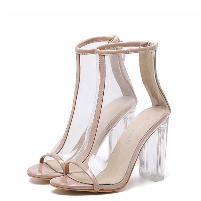 gros en ligne dessin de mode modèles à la mode Nouvelles sandales en plastique transparentes Peep Toe Bottes sexy Zipper  femmes@01Kaki,