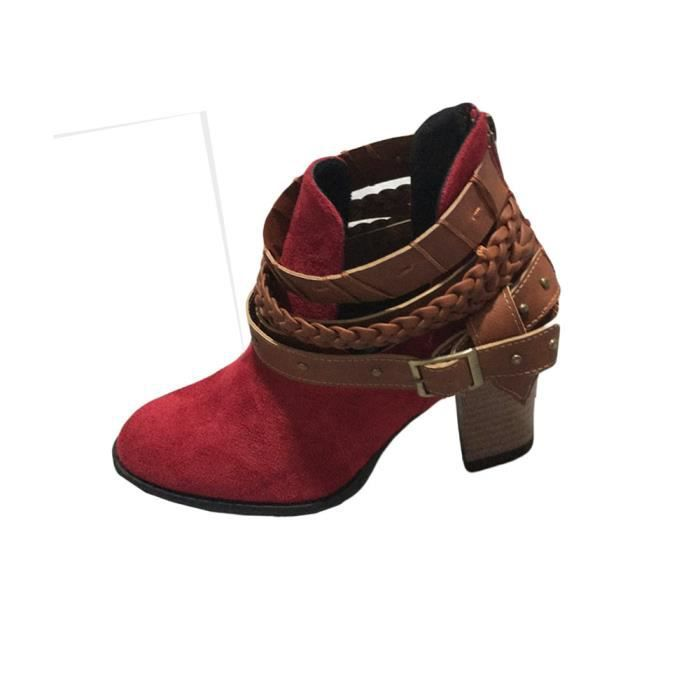 Autumn Femmes Heel Shoes Boot Rouge Wedding Sexy Buckle Boots Rivet Fashion Ankle Party 44 xz q5Fgx8wnd