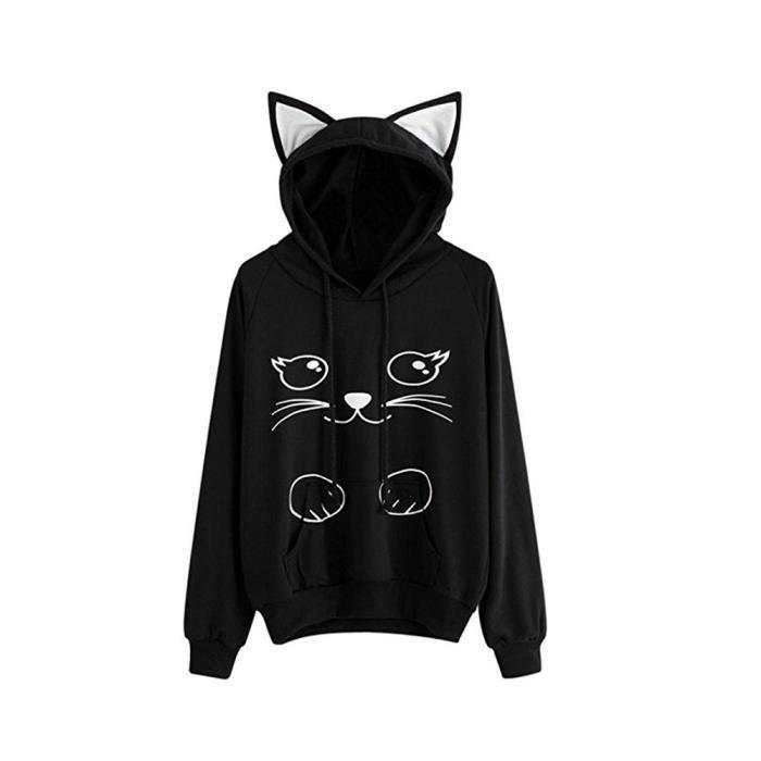 Shirt Imprimé Belle Noir Sweats À Sweat AmourFemme Capuche Automne Chat D9WH2EIY