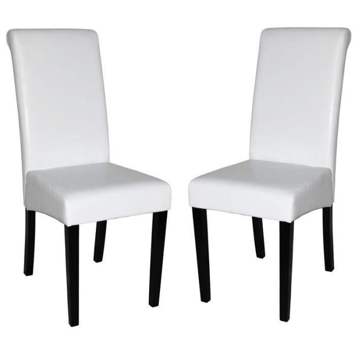 Lot de 2 chaises de salle manger fauteuil no achat vente chaise blanc cdiscount - Chaises fauteuil salle a manger ...