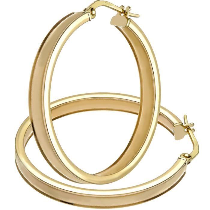 Revoni - Élégantes boucles doreilles anneaux rainurés en or jaune 9 carats, diamètre 25 mm