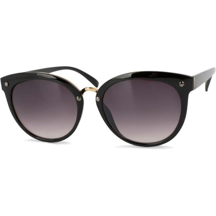 lunettes de soleil yeux de chat avec clous, branches en plusieurs matières, femme 09020071