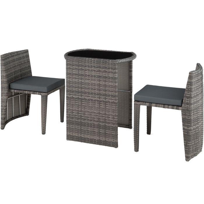 Table de jardin en resine tressee avec chaise encastrable couleur ...