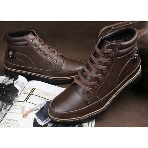 Boots Bottes chaudes en cuir d'hiver pour hommes LECkouiDu