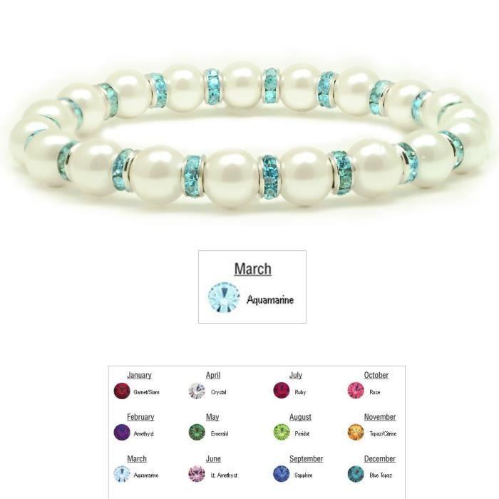 Hématite magnétique Femmes Blanc Tuchi Bracelet Simulé Pearl, 7.5 K455A