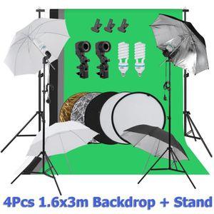 FOND DE STUDIO Kit Éclairage Studio Photo(UK PLUG) 4*Parapluie de