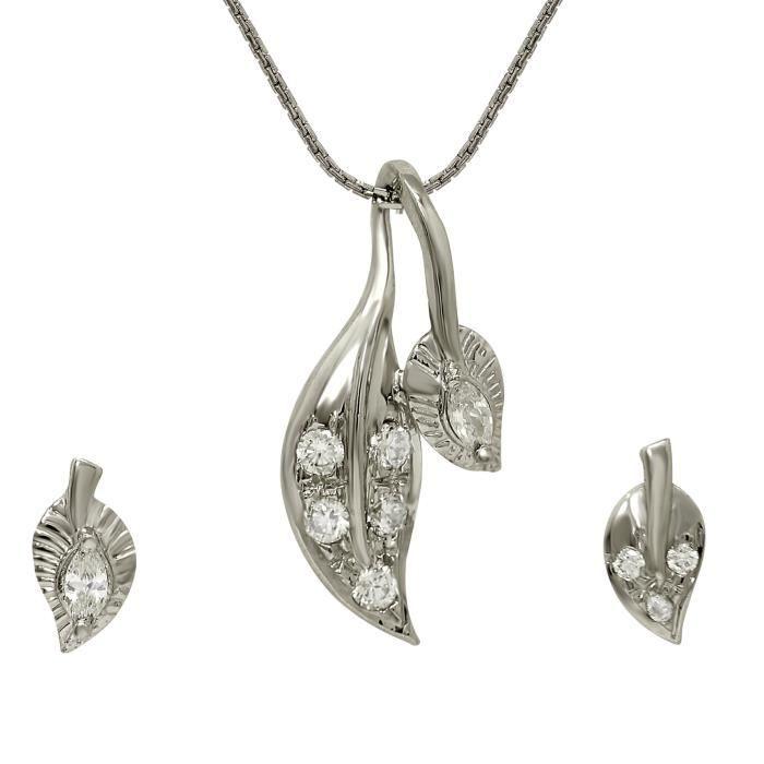 Mismatched rhodié Femmes Blanc Rond Et Marquise Zircon T Leaf Pendant Set Nl1102 IPS5M