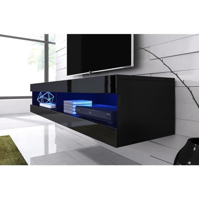 Meuble tv suspendu noir mat fa ade laqu avec led achat for Meuble tv mural egizia a led laque noir