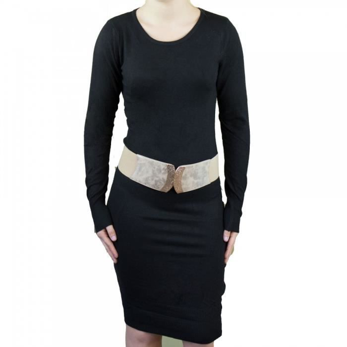 034f0688251 Robe pull aspect laine douce manches longues divers couleurs-Taille unique  aille unique Noir