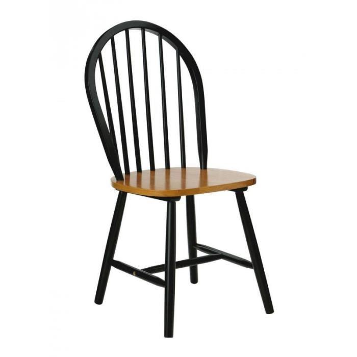 Chaise Barreaux En Bois Noir Mat Et Placage Chn