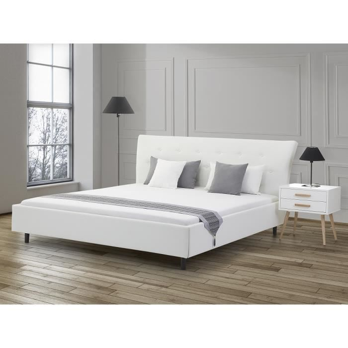 lit design en cuir lit double 160x200 cm blanc sommier inclus saverne achat vente. Black Bedroom Furniture Sets. Home Design Ideas